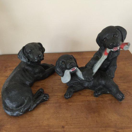 Pair of Indoor/Outdoor Black Dog Figurines