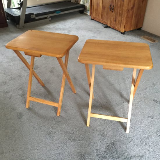 Pair of Wooden Folding Tray Tables