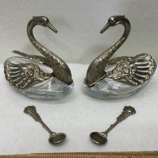 Pair of Vintage Figural Silverplate & Glass Swan Salt Cellars with Moveable Wings & Salt Spoons