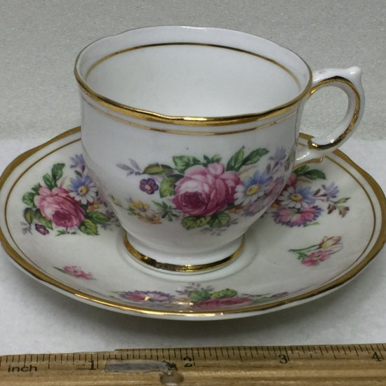 Pretty Floral Salisbury England Bone China Cup and Saucer