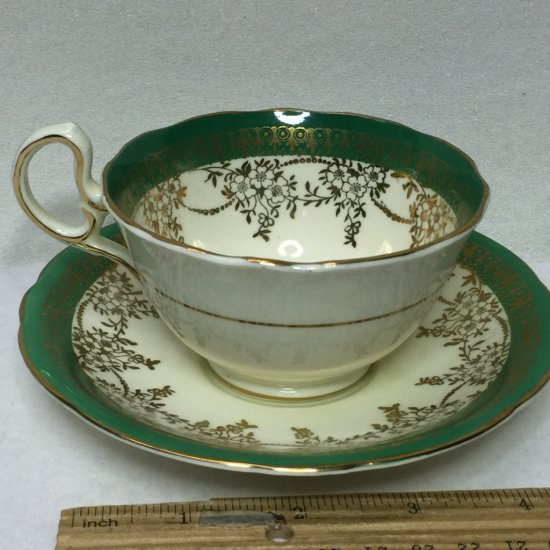 Aynsley Bone China England Tea Cup and Saucer with Green & Gold Trim