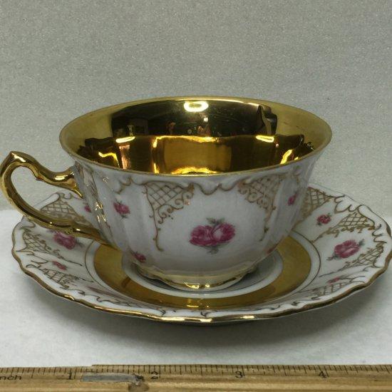Beautiful Royal Heidelberg Winterling Bavaria Tea Cup & Saucer with Gold Interior