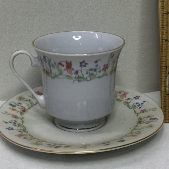 Pretty Fine China Floral Tea Cup & Saucer Made in Liling China