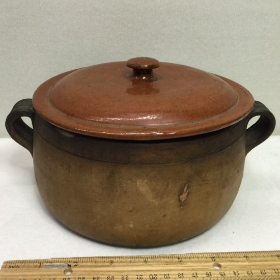 """Vintage """"Vallauris"""" Terracotta Roasting Pot with Lid Made in France"""