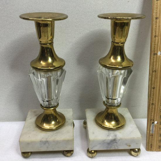 Vintage Brass Candlesticks with Marble Bases