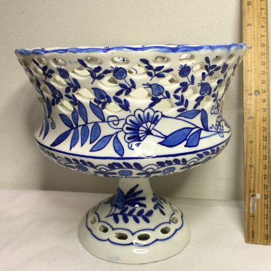 Gorgeous Vintage Blue & White Open Lace Compote Made in Spain