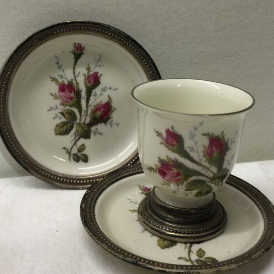 Vintage Sterling Silver Banded Rosenthal Moss Rose Egg Cup & 2 Bread & Butter Plates Selb Germany