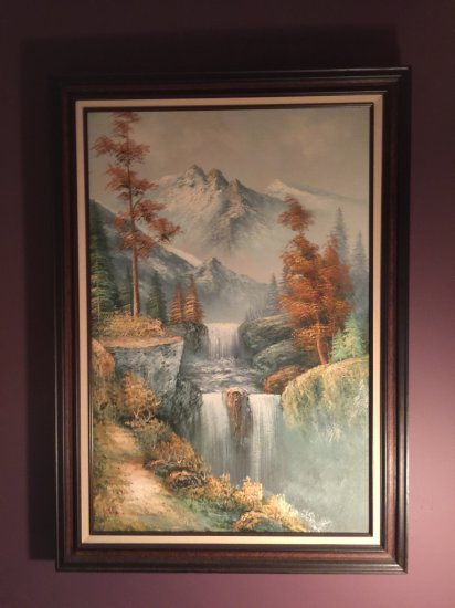 """Framed Oil on Canvas Waterfall Scene Signed """"Carson"""""""
