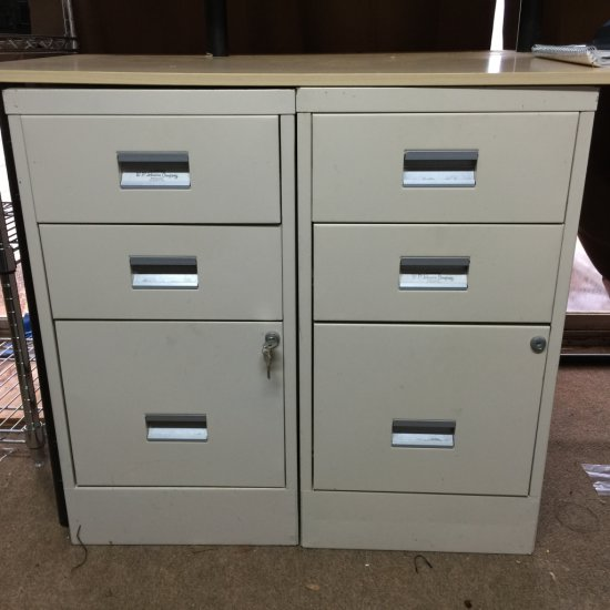 Pair of 3 Drawer Filing Cabinets with Key