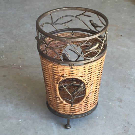 Wicker & Metal Trash Can