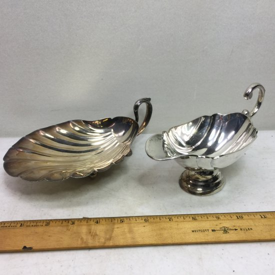 Silver Plated Gravy Boat & Footed Shell Dish