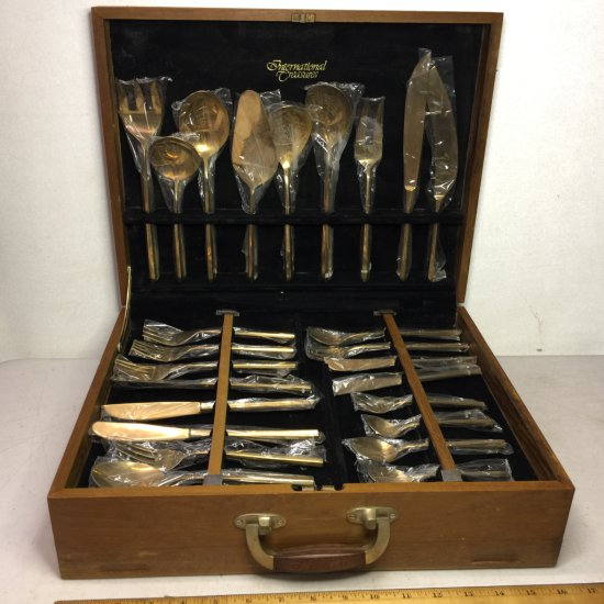 Vintage Double Set of Brass Flatware in Double Sided Wooden Flatware Chest
