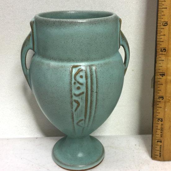 """Roseville Moderne Art Deco 6.5"""" Turquoise Pottery Vase 787-6"""