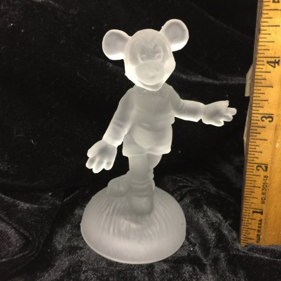 Vintage Frosted Glass Walt Disney Productions Mickey Mouse Figurine