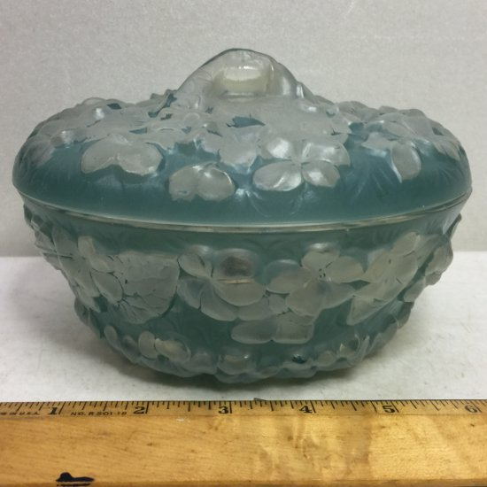 Early Heavy Turquoise Painted Floral Lidded Dish