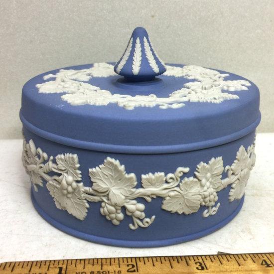 Vintage Signed Wedgwood Lidded Powder Dish with Embossed Grape Design