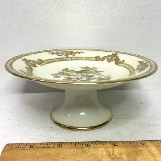 Vintage Hand Painted Noritake Compote with Gold Bird & Floral Design