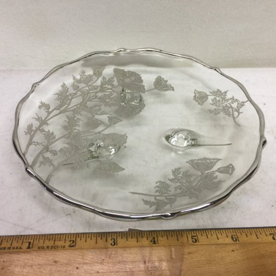Vintage Glass Footed Dish with STERLING SILVER Overlay & Floral Design by Silver City Glass Co