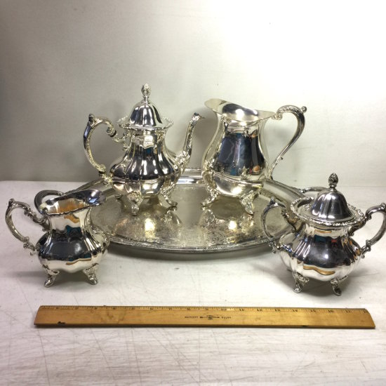 """Extraordinary Silver Plated Tea Set by Towle On """"International Silver Co."""" Plated Tray"""