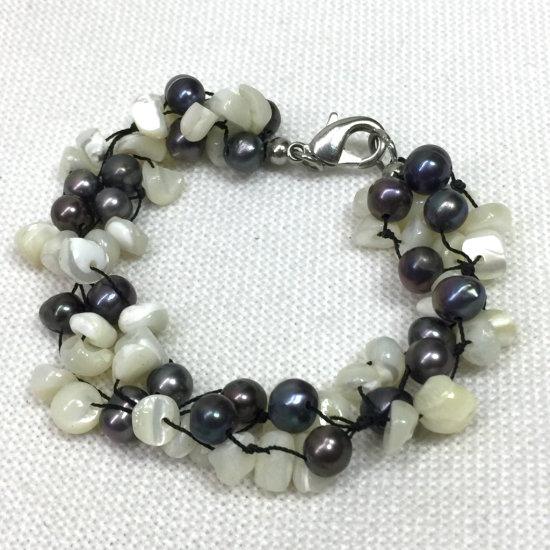 Cultured Peacock Black Pearls & Mother of Pearl Bracelet