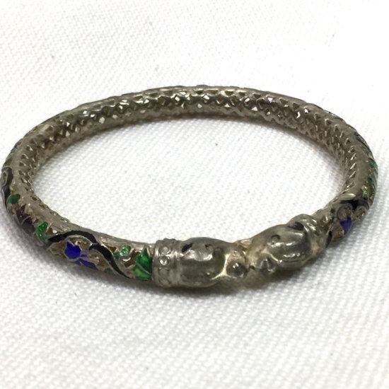Vintage Sterling Silver Multi-colored Enamel Kissing Elephant Trunk UP Openwork Bangle Bracelet