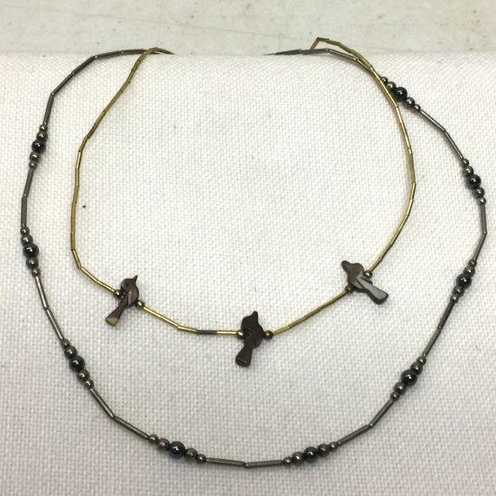 Pair of Vintage Liquid Silver Necklaces