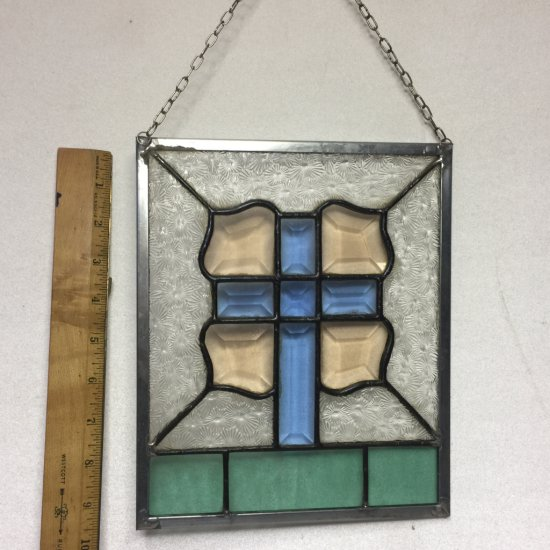 Beautiful Vintage Stained Glass Cross Hanging Window Panel