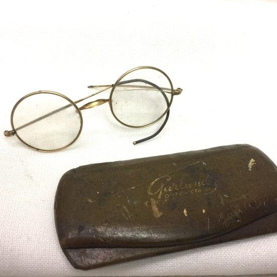 Antique Rolled Gold Plate Eye Glasses & Gulane Hardcase