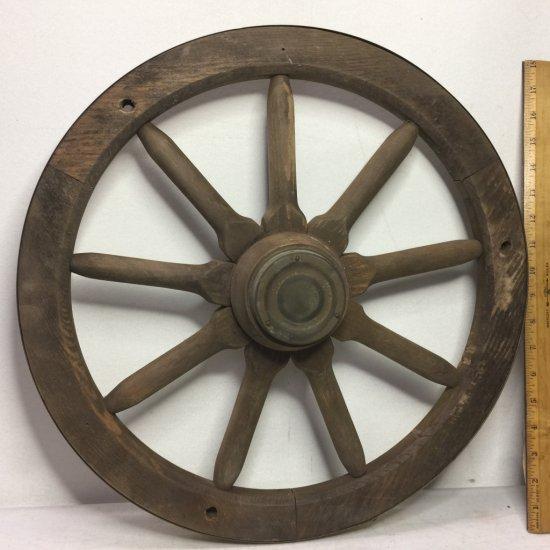 """Primitive 20"""" Wooden Cart Wheel"""