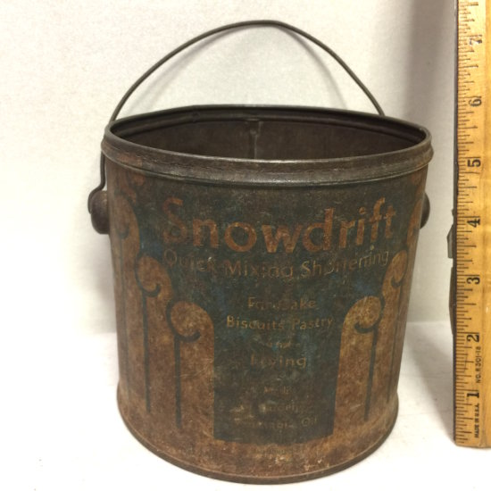 """Early Tin """"Snowdrift Shortening"""" Lard Can with Old Bail Handle"""