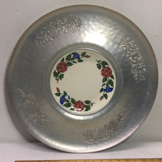 1940's Large Cromwell Hand Wrought Aluminum Tray w/ Shenandoah Ware Center Plate