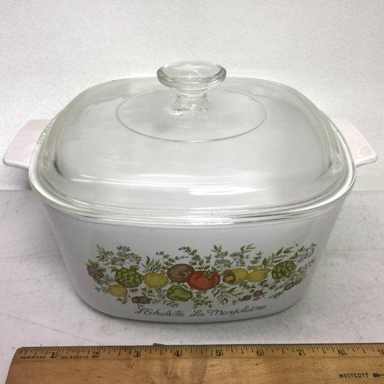 "Vintage 3 Qt Corning Ware ""Spice of Life"" Lidded Casserole Dish"