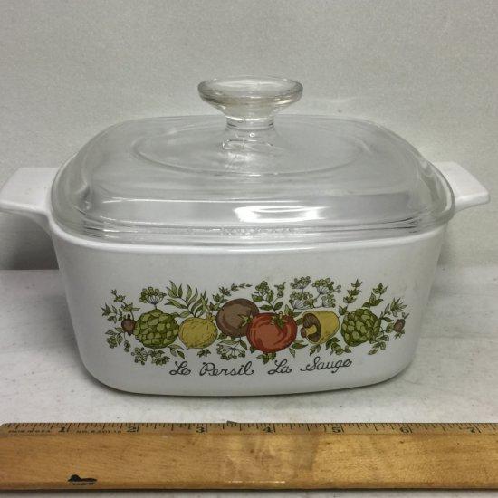 "Vintage Corning Ware 1-1/2 Quart ""Spice of Life"" Lidded Casserole Dish"