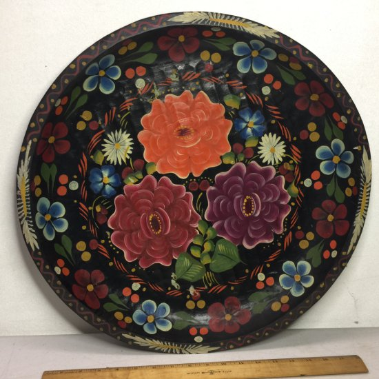 """Vintage Hand Painted Batea Wood Large 20"""" Floral Bowl Made in Mexico"""