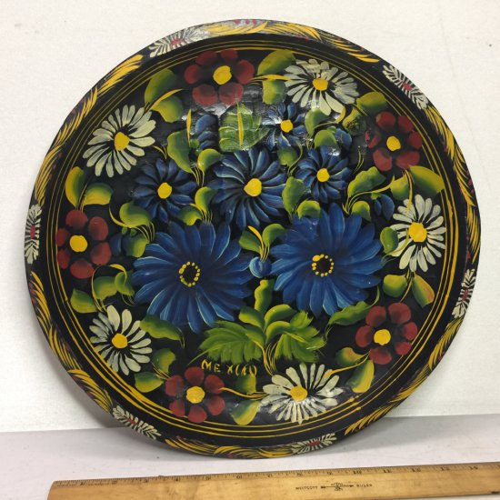 """Vintage Hand Painted Batea Wood 14-1/2"""" Floral Bowl Made in Mexico"""