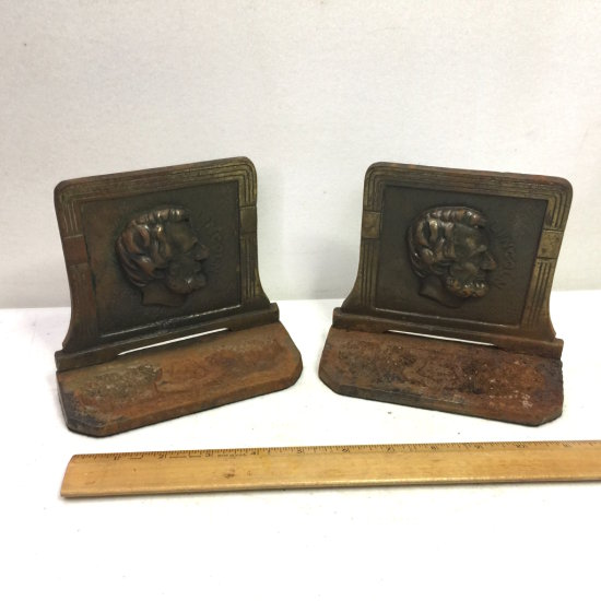 1920's Cast Iron Abraham Lincoln Bookends by Judd Mfg