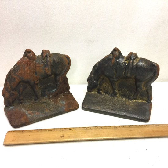 Pair of Vintage Cast Iron Horse Bookends