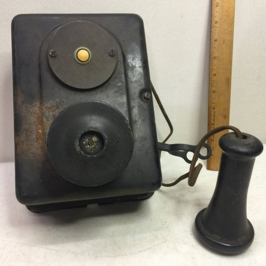 Antique Metal Wall Phone with Receiver