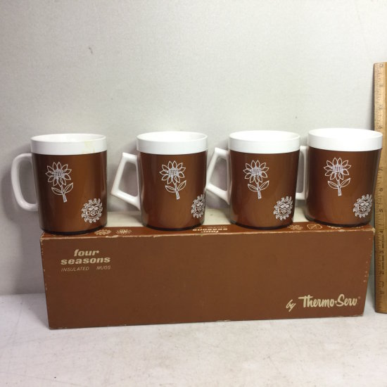 Vintage Four Seasons Insulated Mugs by Thermo-Serv in Original Box