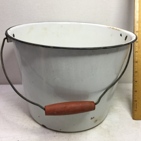 Vintage White Enamel Ware Pot with Red Wooden Handle