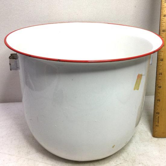 Vintage Enamel Ware Pot with Red Rim