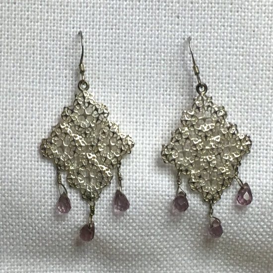 Vintage Sterling Silver Filigree & Genuine Amethyst Gemstone Dangle Earrings