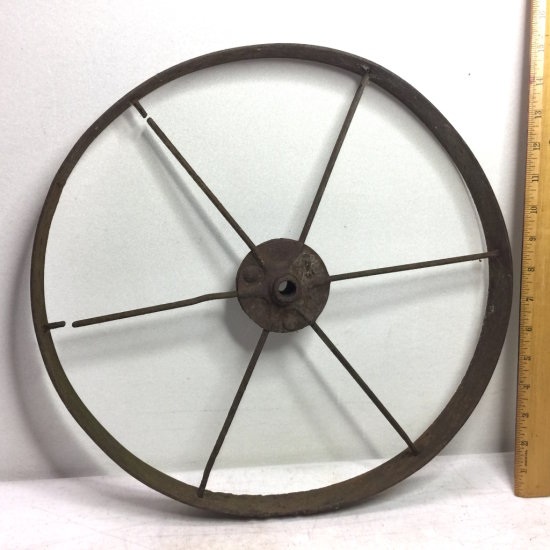 Antique Iron Metal Cart Wheel