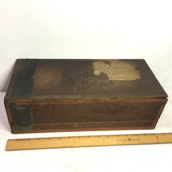 "Antique Large Wooden Cigar Box with Victorian Graphic Labels Dated 1883 ""Premier Senate Bouquet"""