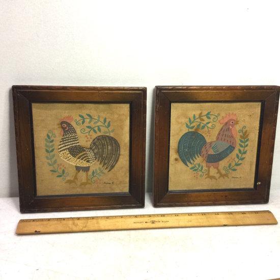 Pair of Vintage Fowl on Canvas Framed Primitive Distressed Rooster Pictures