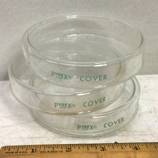Set of 3 Vintage Glass Pyrex Petri Dishes