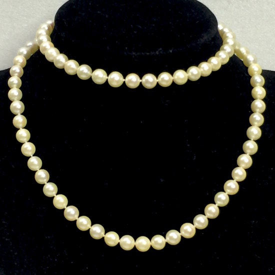 """Vintage 24"""" Real Pearl Necklace with 14K Gold Clasp"""