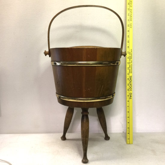 Vintage Firkin Sugar Bucket 3 Legged Divided Magazine Rack/Sewing Bucket