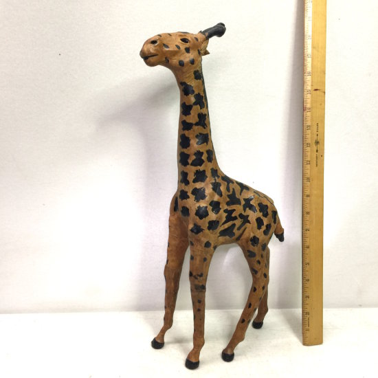 Tall Collectible Leather Giraffe Figurine