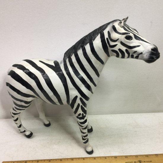 Large Leather Zebra Figurine